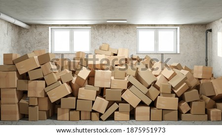 Pile of cardboard boxes in basement or warehouse full of clutter and chaos (3d rendering) Photo stock ©