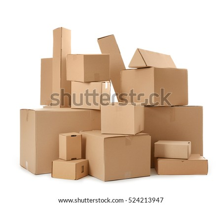 Pile of cardboard boxes isolated on white #524213947