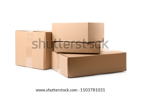 Pile of cardboard boxes on white background