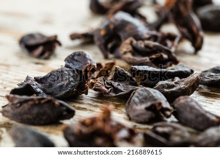 Shutterstock Pile of Cascara on the grunge wood desk. The skin of the coffee fruit. Tradition drink in East Africa and the arabic world.