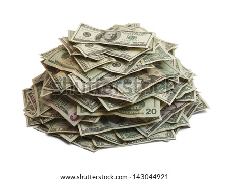 Pile Of Cash Isolated On White Background.