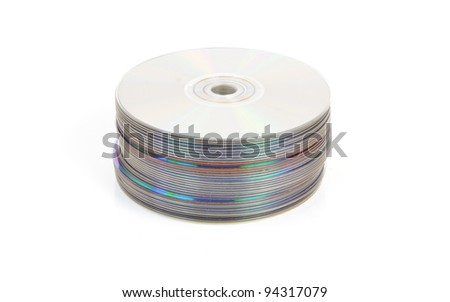 Pile of CDs or DVDs or Blu Ray discs