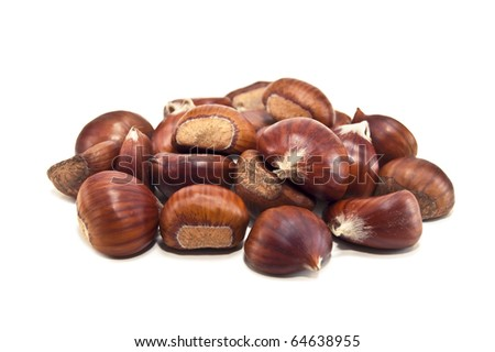 pile of chestnuts isolated on white