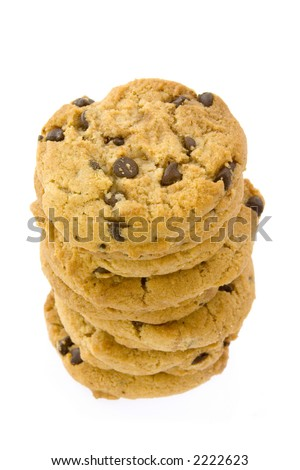 Pile of chocolate chips cookies stacked together