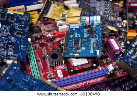 Pile of circuit boards for plastic and metal recycling