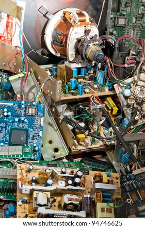 Pile of circuit boards, many old electronics - stock photo
