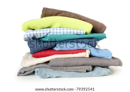 pile of clothes on a white background