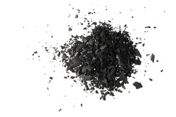 Pile of coal carbon or charcoal  dust isolated on white background