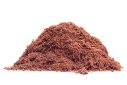 Pile of coconut dust is natural fertilizer for growing plants isolated on white background.