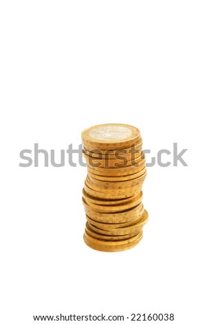 Pile of coins isolated on white. - stock photo