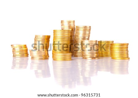 Pile of coins, isolated over white