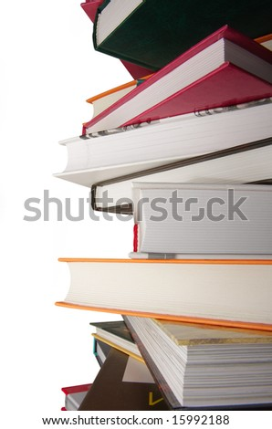 pile of color books on the isolated background