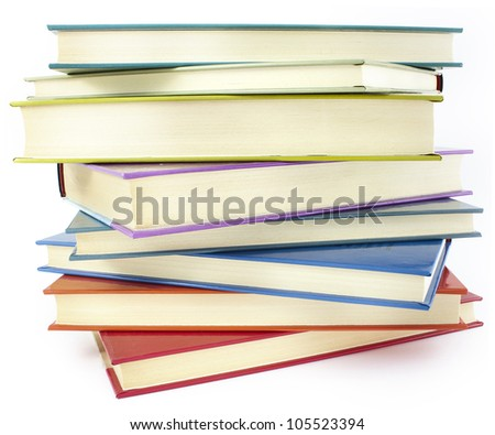 pile of color hardcover books over white background