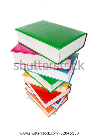 Pile of colorful books isolated on a white background