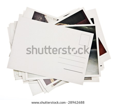pile of colorful cards on white background