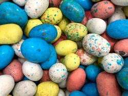 Pile of colorful chocolate Easter eggs