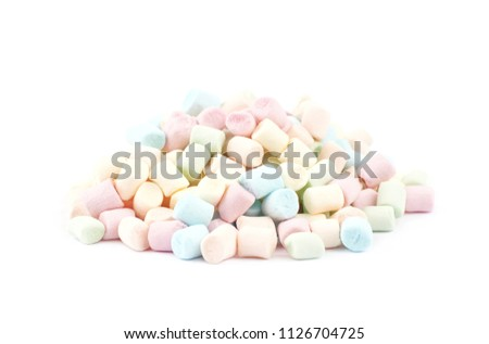 Pile of colorful mini marshmallows isolated over the white background #1126704725