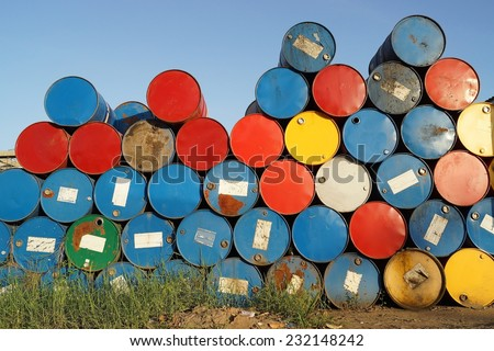 Pile of colorful oil tank