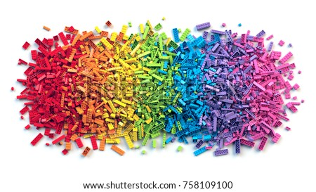 Pile of colorful rainbow toy bricks isolated on white background. Educational toy for children. 3D Rendering.