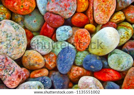 Pile of colorful Sea Pebble stones and rocks on beach.Different forms multicolor Pebbles (green,orange,red, yellow,blue,brown) as natural abstract texture background.Close up colorful Pebbles on coast - Shutterstock ID 1135551002