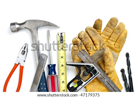 Pile of Construction Tools. Focus evenly across all objects