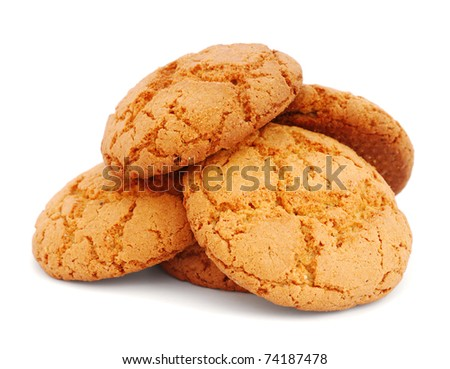 Pile of cookies isolated on white background