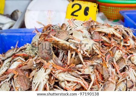 Pile of crabs seafood product at market from Thailand.
