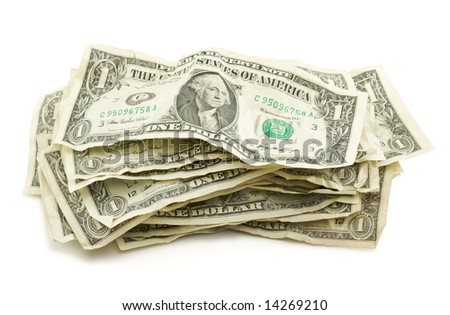 Pile of Crumpled Dollar Bills Isolated on a White Background.