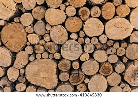 Pile of cut timber background