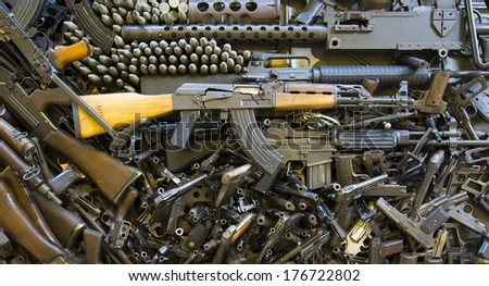 Pile of deactivated weapons