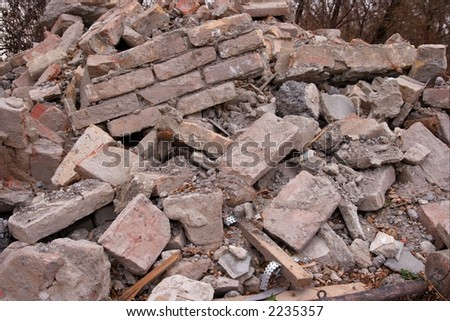Pile of debris of a ruined building