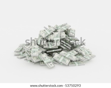 Pile of dollar stacks - stock photo