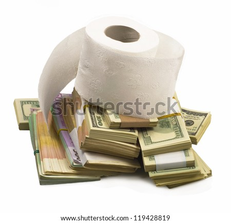 pile of dollars and euro notes and toilet roll on a white background