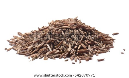 Pile of dried Caraway seeds (fruits of Carum carvi), known as meridian fennel, persian cumin. Clipping paths, shadows separated