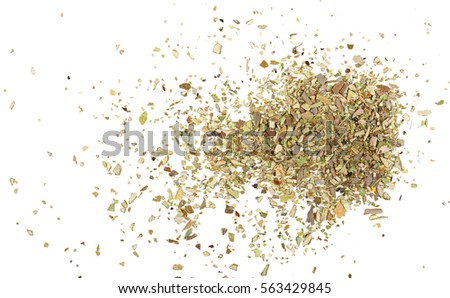 Pile of dried oregano leaves isolated on white background #563429845
