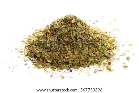 Pile of dried oregano leaves isolated on white background #567733396