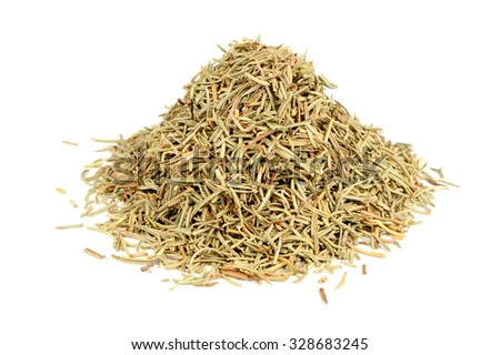 Pile of Dried Rosemary Isolated on White Background #328683245