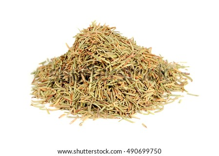 Pile of Dried Rosemary Isolated on White Background #490699750