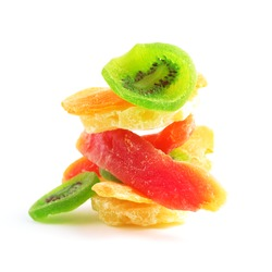 pile of dried tropical fruits isolated on the white background