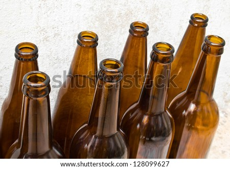Pile of empty beer bottle