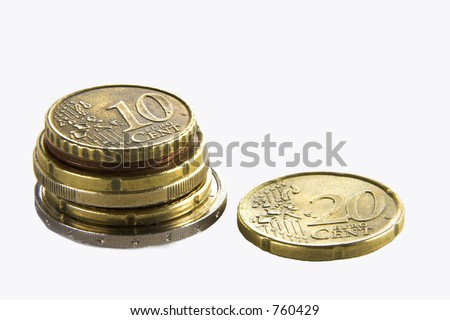 pile of euro coins isolated over white background