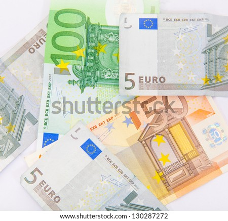 Pile of euro currency banknotes background