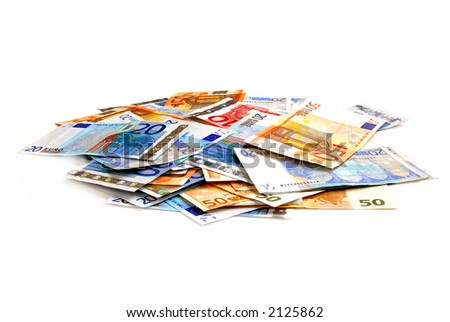 Pile of european currency bills isolated on white background