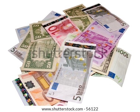 Pile of Euros and dollars (Isolated)