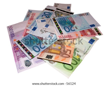 Pile of Euros (Isolated)