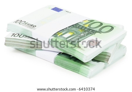 Pile of 100 Euros - isolated on white