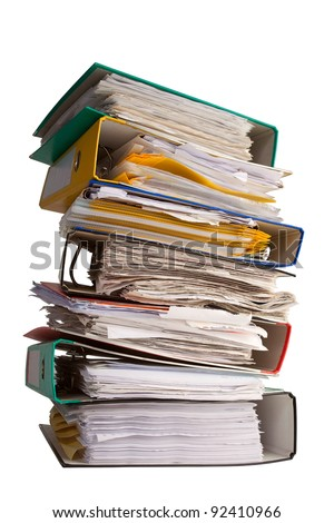 pile of file binder with a lot of documents