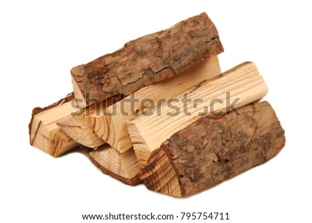Pile of firewood isolated on a white background #795754711