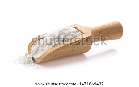 Pile of flour in wood scoop isolated on white background.  Foto d'archivio ©