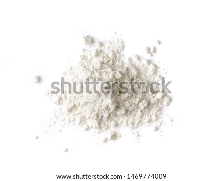 Pile of flour isolated on white background. Top view Foto d'archivio ©